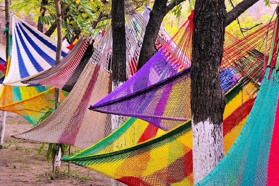 Hamak do zawieszenia na drzewo. Oprócz hamaków ze stelażem to najpopularniejszy (i pierwszy) typ hamaka. Zajmuje mało miejsca i idealnie spisuje się na wakacjach albo w ogrodzie.